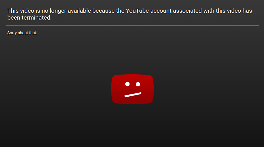 You Tube Account Terminated